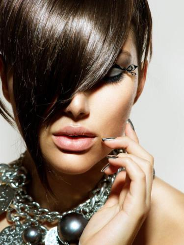 21341940 - fashion glamour beauty girl with stylish hairstyle and makeup