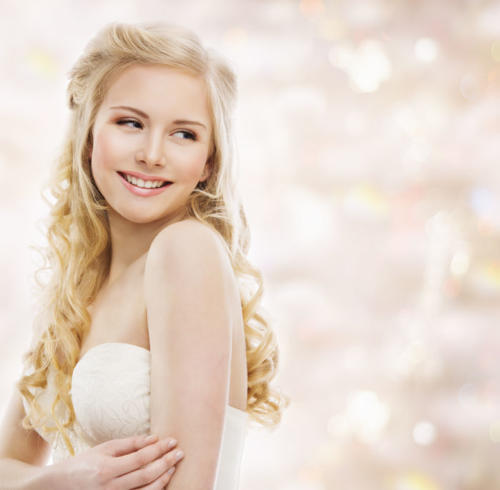 Woman Blond Long Hair, Fashion Model Portrait, Smiling Young Gir