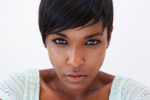44418725 - close up portrait of an african american female fashion model face