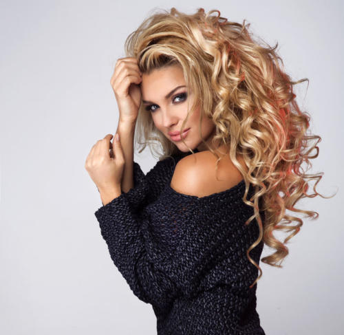Beauty portrait of blonde sensual lady.