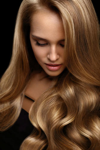 Volume Hair. Beautiful Woman Model With Long Blonde Hair